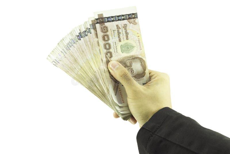 Mão do homem de negócios que mantém o dinheiro e o homem que mantêm uma carteira isolada no fundo branco foto de stock royalty free