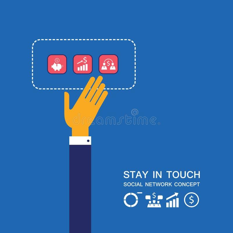 Mão do homem de negócios que toca no conceito social de uma comunicação da rede da tecnologia dos ícones do negócio ilustração royalty free