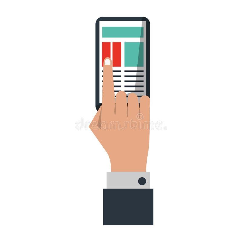 Mão do homem de negócios que toca no símbolo do smartphone ilustração stock