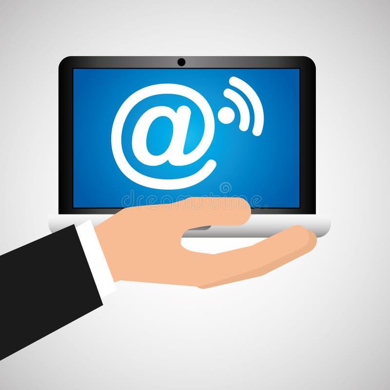A mão do homem guarda meios móveis do social do wifi do correio do portátil ilustração royalty free