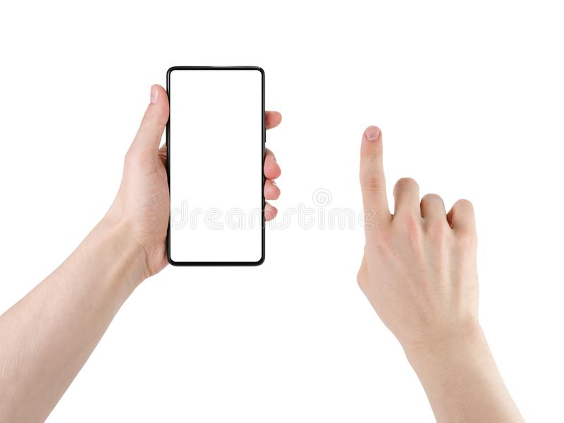 Mão do homem novo que guarda a moldura menos smartphone com a mão do toque isolada no branco fotos de stock