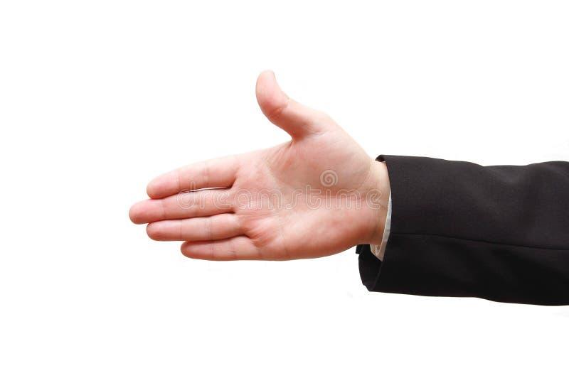 Mão do homem pronta para o aperto de mão foto de stock royalty free