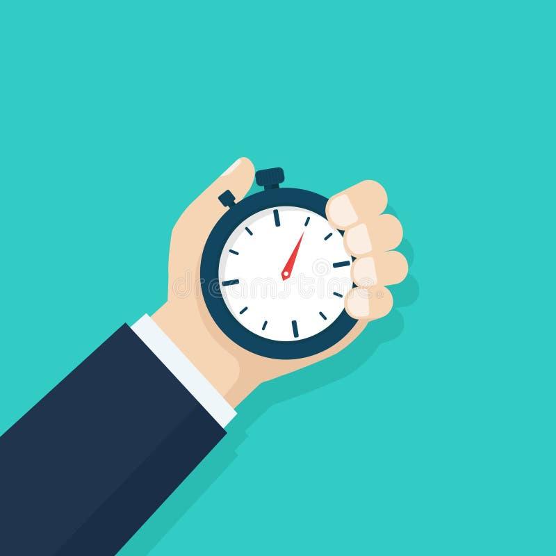 Mão do homem que guarda o cronômetro Conceito da gestão de tempo Tempo do esporte Controle de tempo, planeando Projeto liso, veto ilustração stock