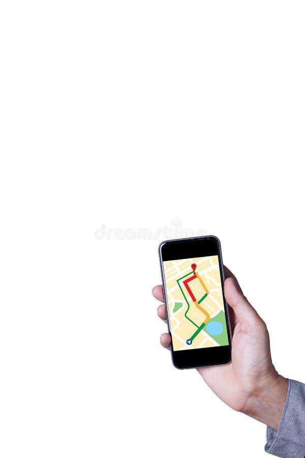Mão do homem que usa o mapa na aplicação do smartphone isolado fotos de stock
