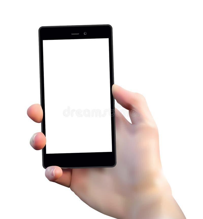 A mão do homem realístico do vetor que mantém o telefone esperto preto da placa isolado no fundo branco ilustração stock
