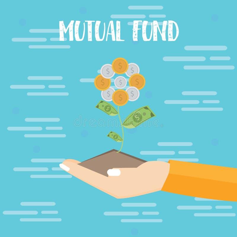 A mão do investimento do fundo de investimento aberto cresce a ilustração lisa do vetor da moeda do dólar da planta ilustração royalty free