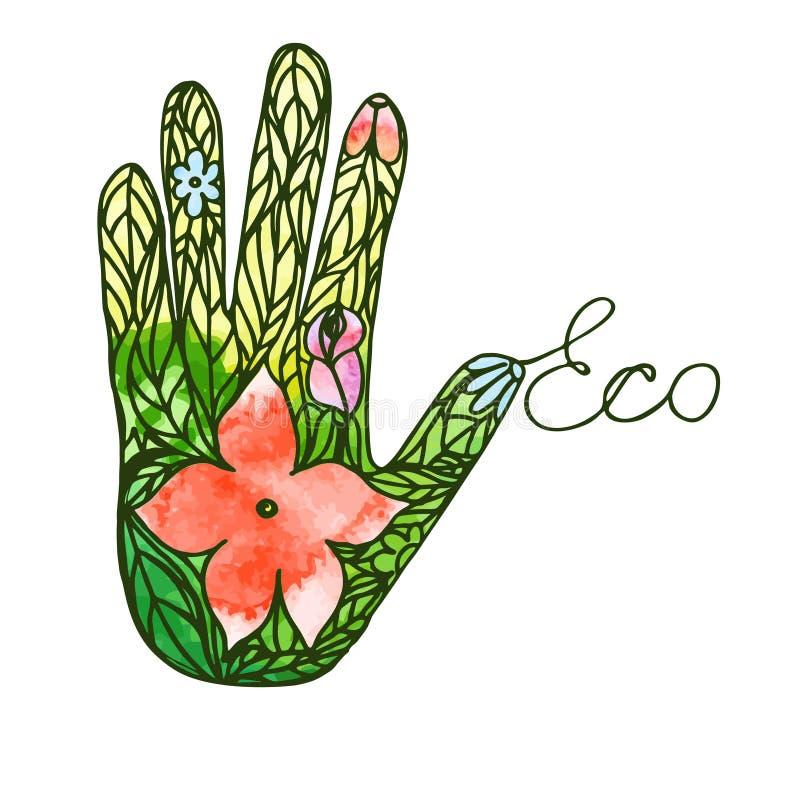 Mão do logotipo que consiste na imagem ecológica do vetor da apelação das folhas e das flores ilustração do vetor