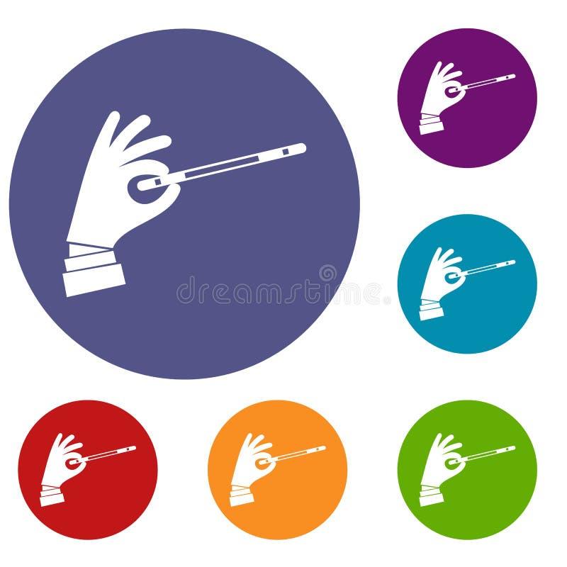 Mão do mágico com os ícones de uma varinha da mágica ajustados ilustração royalty free