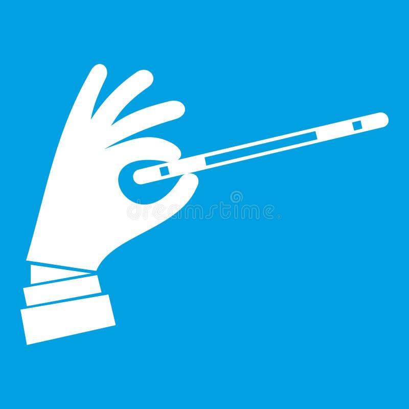 Mão do mágico com um branco mágico do ícone da varinha ilustração royalty free