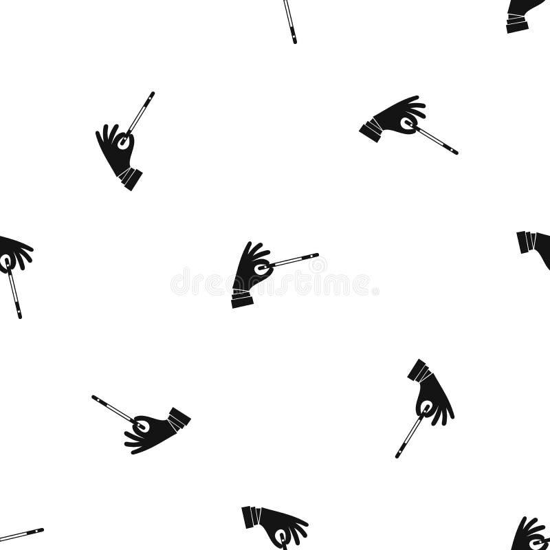 Mão do mágico com um preto sem emenda do teste padrão mágico da varinha ilustração royalty free