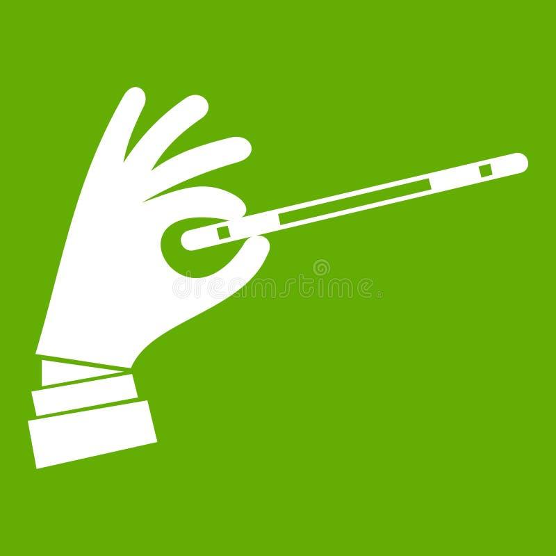 Mão do mágico com um verde mágico do ícone da varinha ilustração stock
