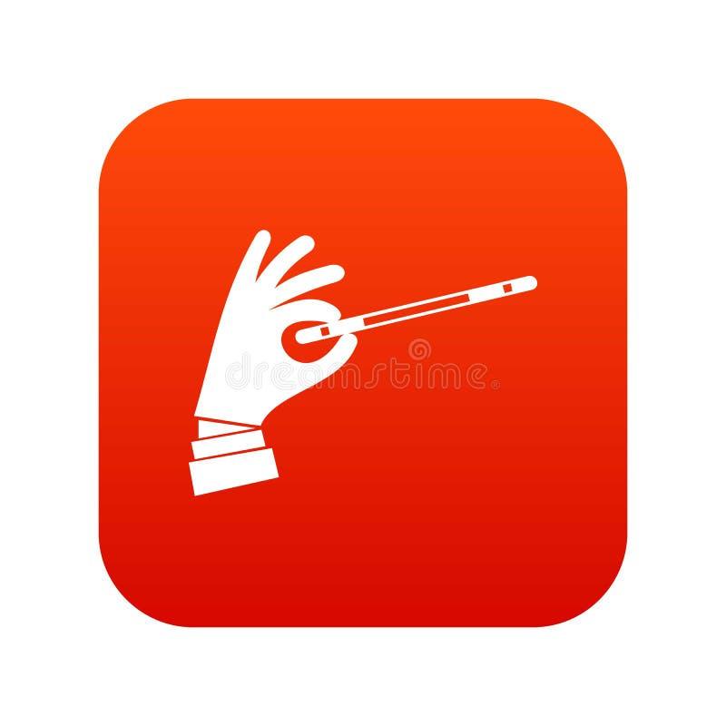 Mão do mágico com um vermelho digital do ícone mágico da varinha ilustração stock