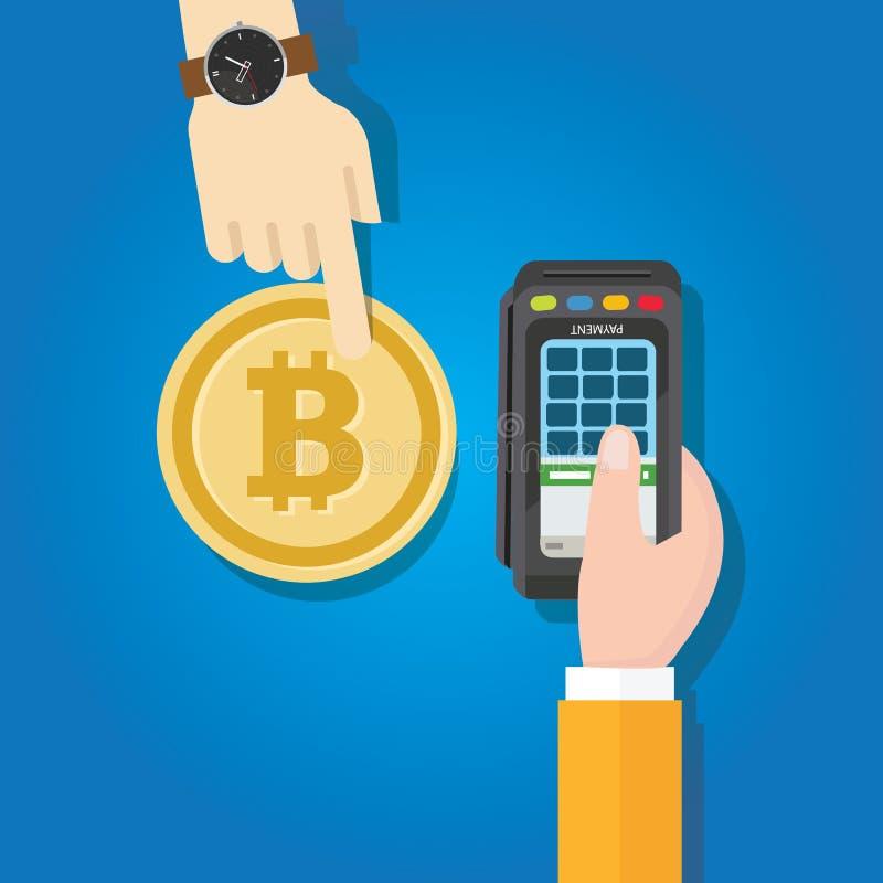 Mão do método do pagamento da transação de Bitcoin que mantém a máquina terminal ilustração do vetor