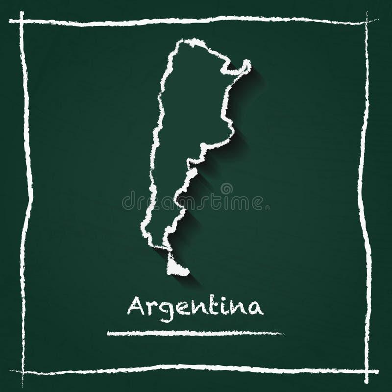 Mão do mapa do vetor do esboço de Argentina tirada com ilustração do vetor