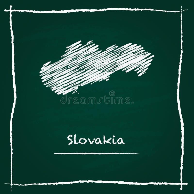 Mão do mapa do vetor do esboço de Eslováquia tirada com giz ilustração royalty free
