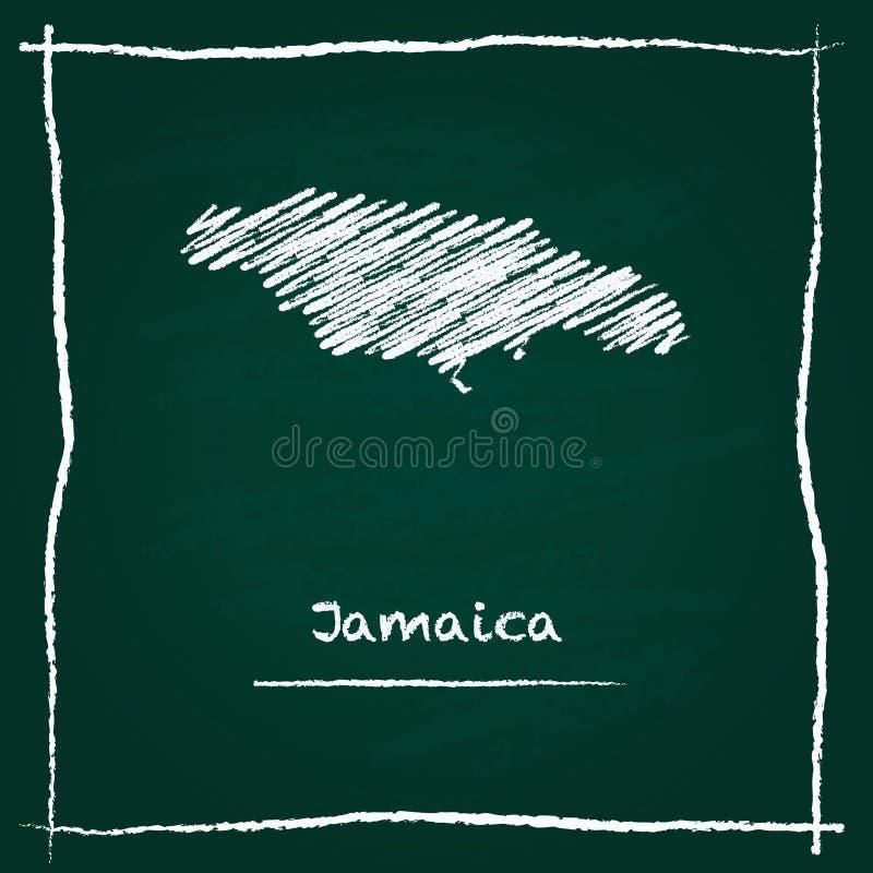 Mão do mapa do vetor do esboço de Jamaica tirada com giz ilustração royalty free