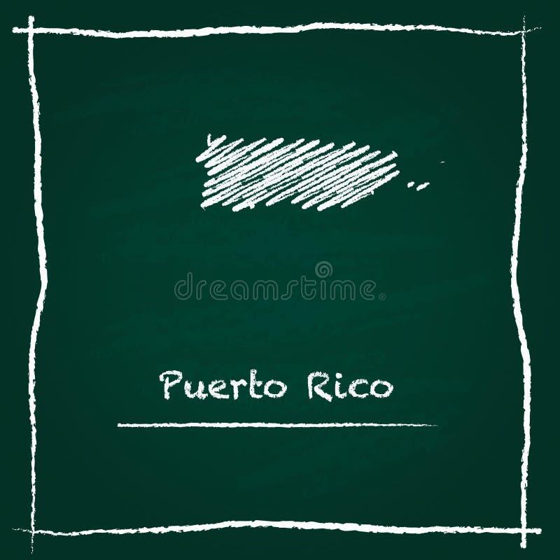 Mão do mapa do vetor do esboço de Porto Rico tirada com ilustração royalty free