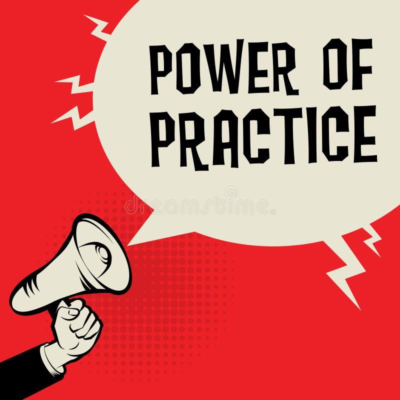 Mão do megafone, conceito do negócio com poder do texto da prática ilustração stock
