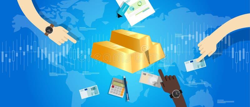 Mão do mercado do preço da barra de ouro que guarda a transação do dinheiro ilustração royalty free