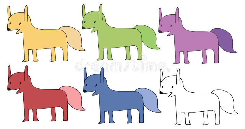A mão do monstro do grupo de cor da raposa da garatuja dos desenhos animados da cópia tira feliz ilustração stock