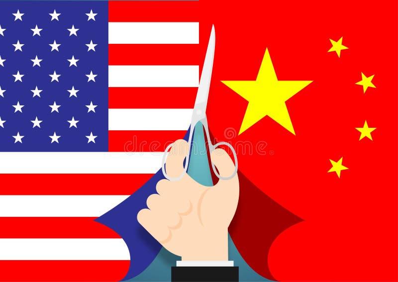Mão do negócio com a bandeira do corte das tesouras ilustração do projeto de conceito da crise de América e de China, de guerra c ilustração stock