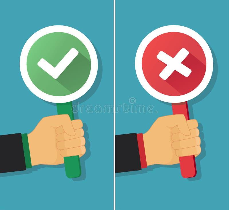Mão do negócio com sinal verdadeiro e falso Ilustração do vetor ilustração do vetor