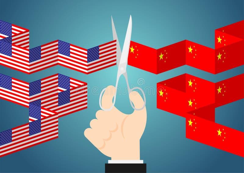 A mão do negócio com tesouras cortou a corrente do papel da bandeira ilustração do projeto de conceito da crise de América e de C ilustração stock
