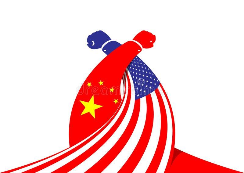 Mão do negócio da luta romana de braço da bandeira de América e de China, guerra comercial e ilustração do projeto de conceito da ilustração stock