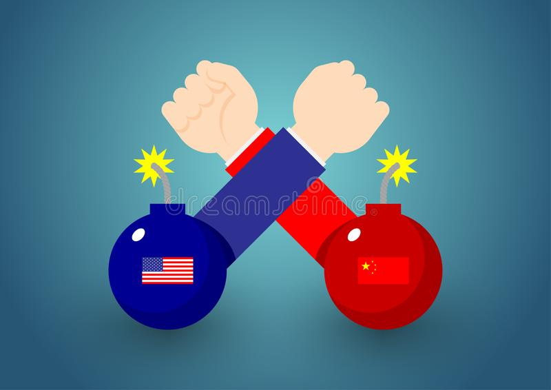Mão do negócio da luta romana de braço com a bomba da bandeira de América e de China, a guerra comercial e a ilustração do projet ilustração do vetor