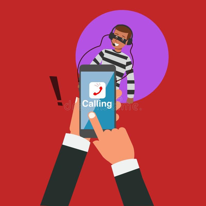 Mão do negócio que chama com aplicação mas bisbilhotar do hacker ilustração stock