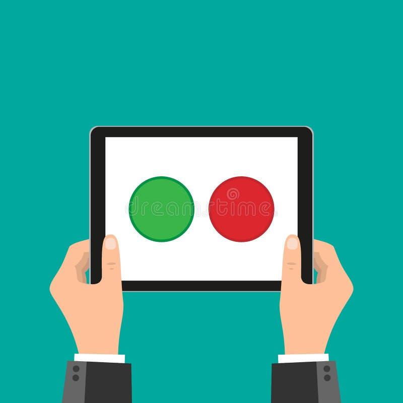 Mão do negócio que guarda o telefone esperto e o toque no botão apenas dois do tela táctil, verde e vermelho projeto liso, concei ilustração stock
