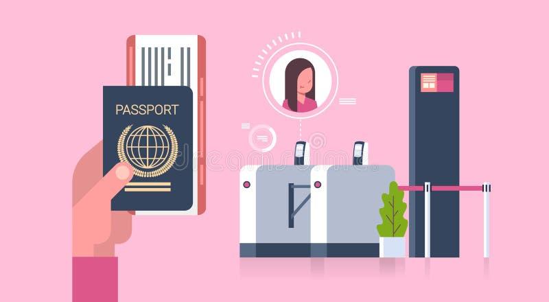 A mão do negócio que guardam o passaporte e os bilhetes ao plano sobre verificam dentro o varredor na mulher do aeroporto no regi ilustração stock