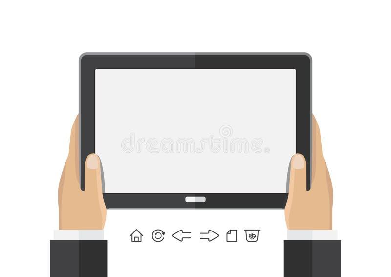 Mão do negócio do vetor que guarda a tela de tablet pc vazia ilustração royalty free