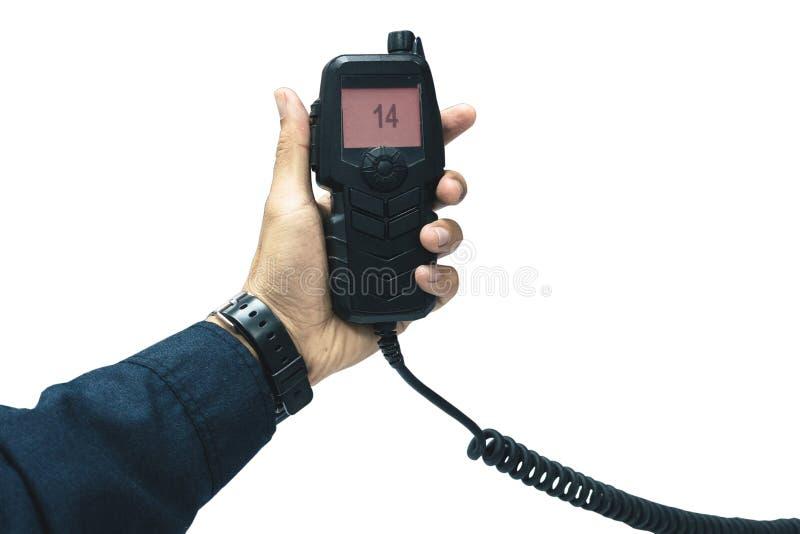 mão do orador e da imprensa guardando de rádio amadores para o rádio imagem de stock