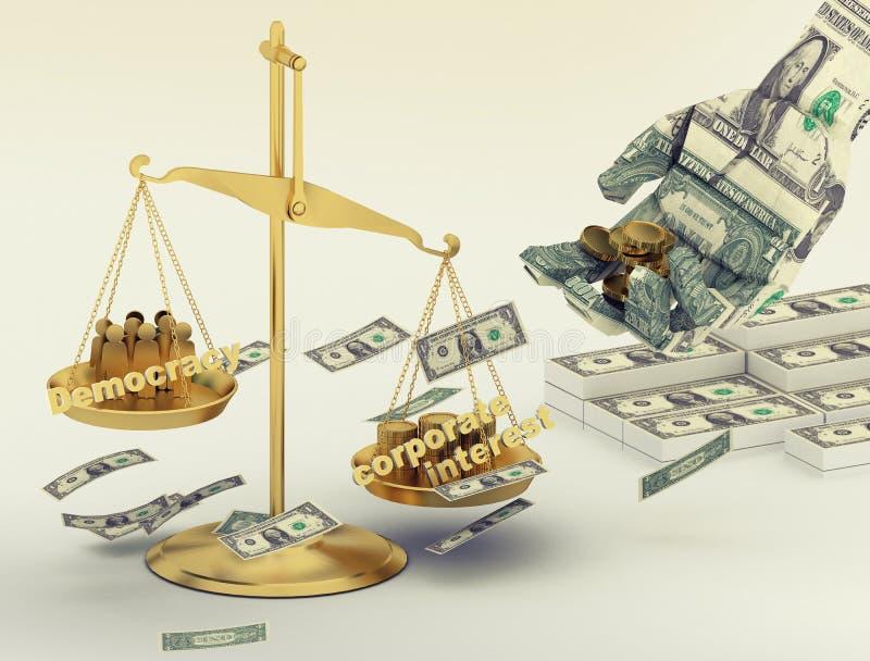 Mão do origâmi do dinheiro do dólar, cale do equilíbrio com interesses incorporados e democracia ilustração stock