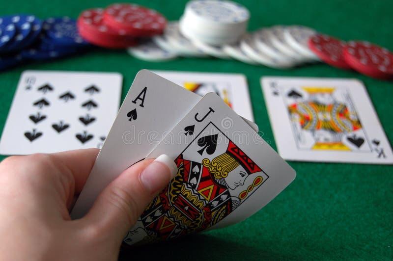 Mão do póquer do resplendor reto fotografia de stock