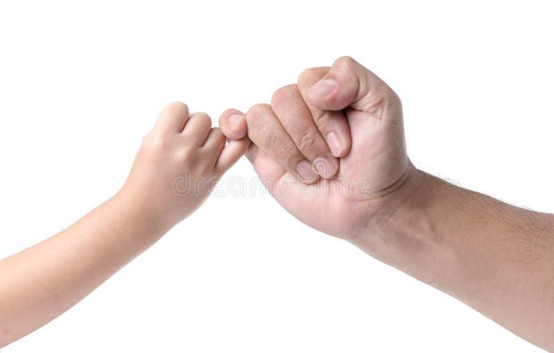 Mão do pai e da filha que faz a promessa como uma amizade se isolou foto de stock royalty free