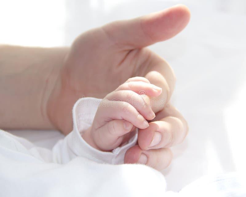 Mão do pai e mão minúscula do bebê fotos de stock royalty free
