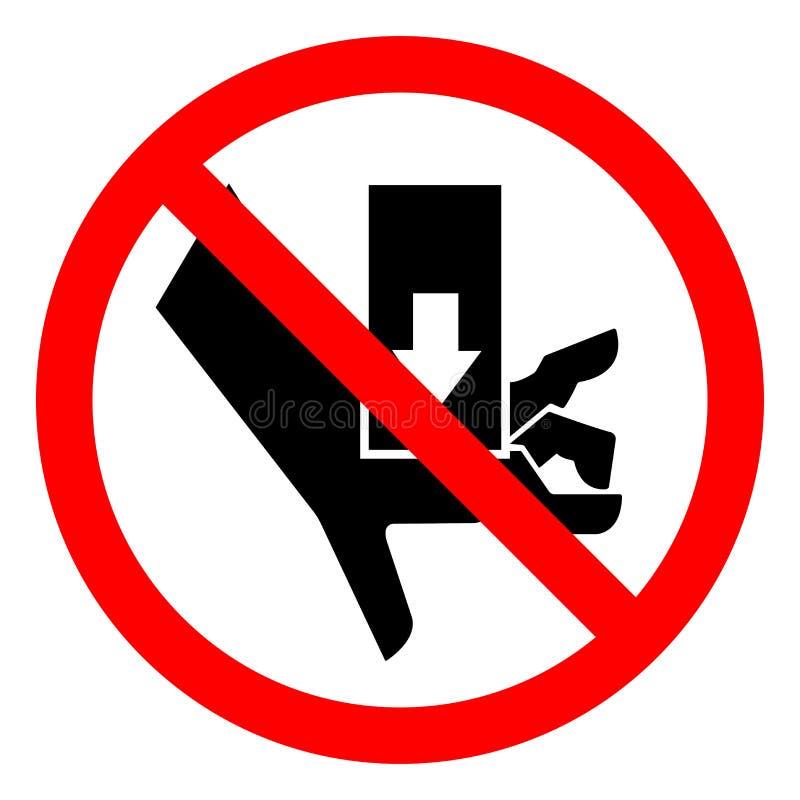 A mão do perigo de ferimento esmaga a força de cima do sinal do símbolo, ilustração do vetor, isolado na etiqueta branca do fundo ilustração do vetor
