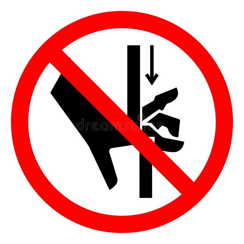 A mão do perigo de ferimento esmaga o sinal do símbolo das peças móveis, ilustração do vetor, isolado na etiqueta branca do fundo ilustração stock