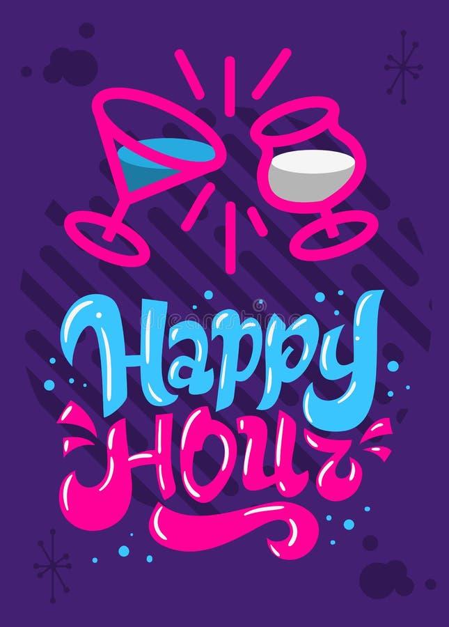 Mão do projeto do inseto do cartaz do happy hour tirada rotulando o tipo gráfico de vetor ilustração stock