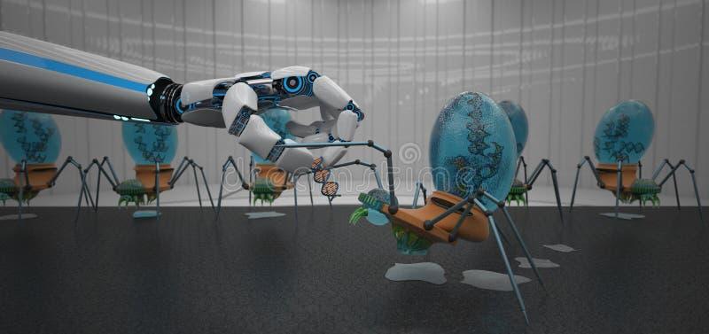 M?o do rob? do ADN Nanobots ilustração stock