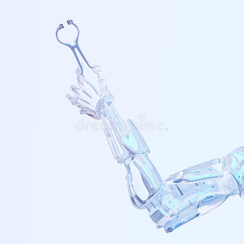Mão do robô do cirurgião que guarda a ferramenta da cirurgia Conceito robótico da cirurgia Ilustração robótico da tecnologia 3D ilustração do vetor