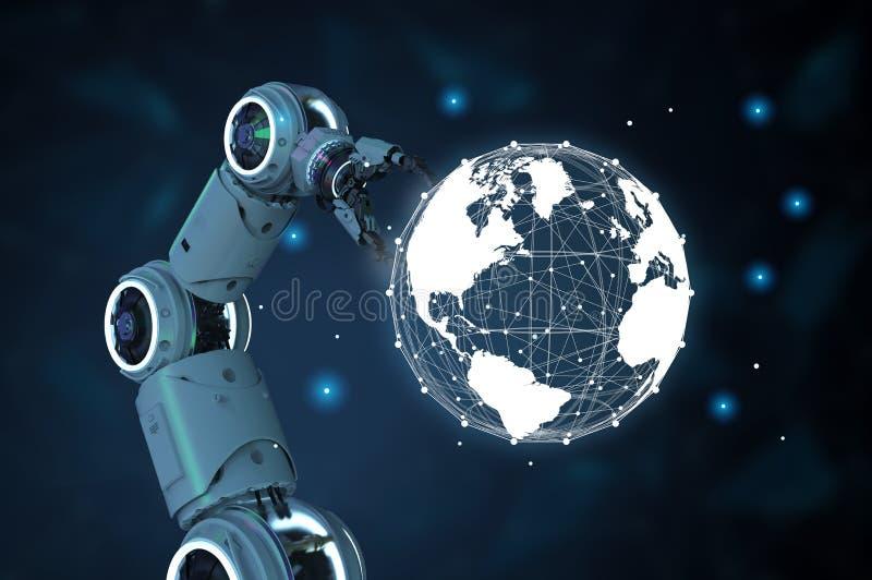 Mão do robô com conexão do mundo