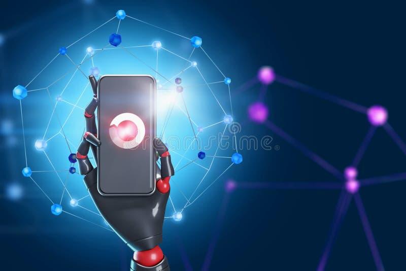 Mão do robô com smartphone, interface de rede ilustração royalty free