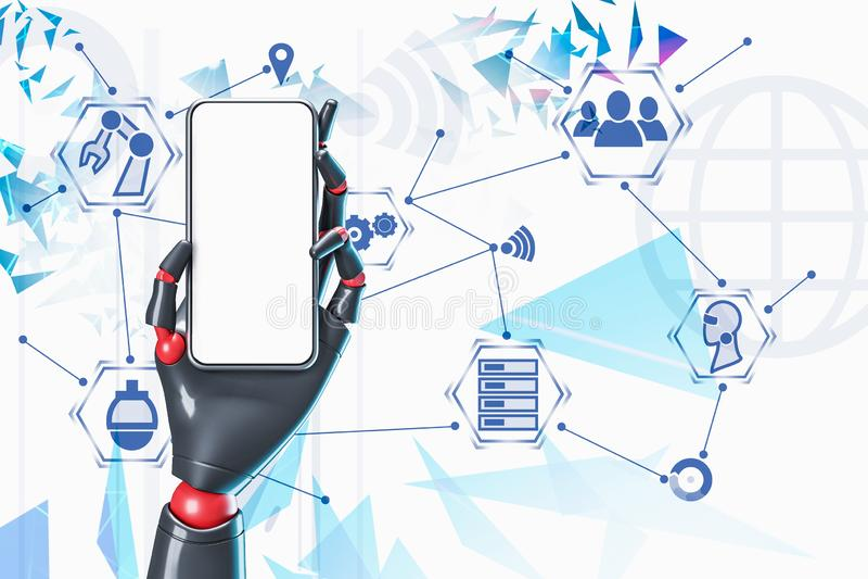 Mão do robô com telefone, relação do Internet ilustração stock