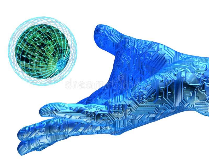 Mão do robô da terra arrendada de Digitas ilustração royalty free