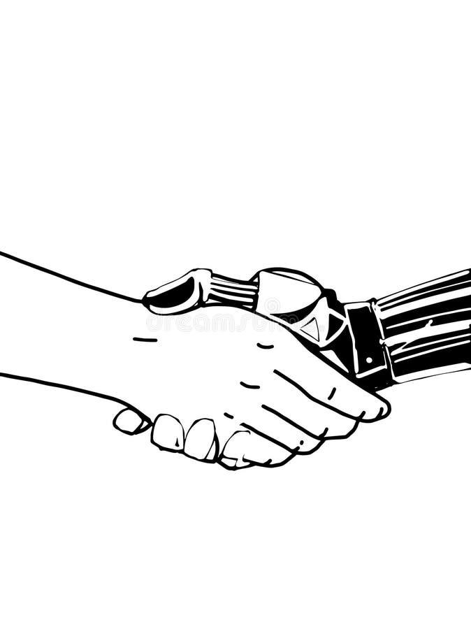 A mão do robô para agitar as mãos com o desenho da ilustração dos povos ilustração do vetor