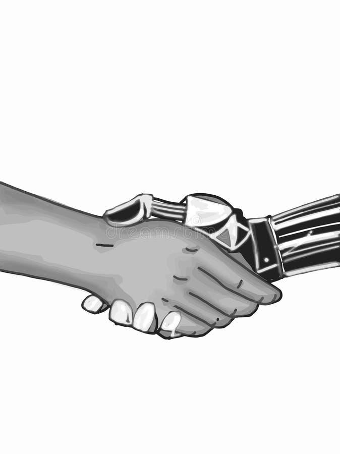 A mão do robô para agitar as mãos com o desenho da ilustração dos povos ilustração stock