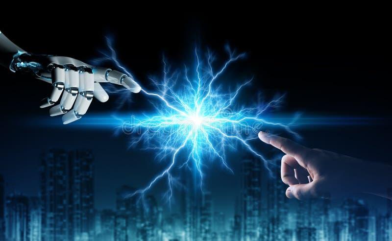 Mão do robô que cria a eletricidade com a rendição humana da mão 3D ilustração royalty free